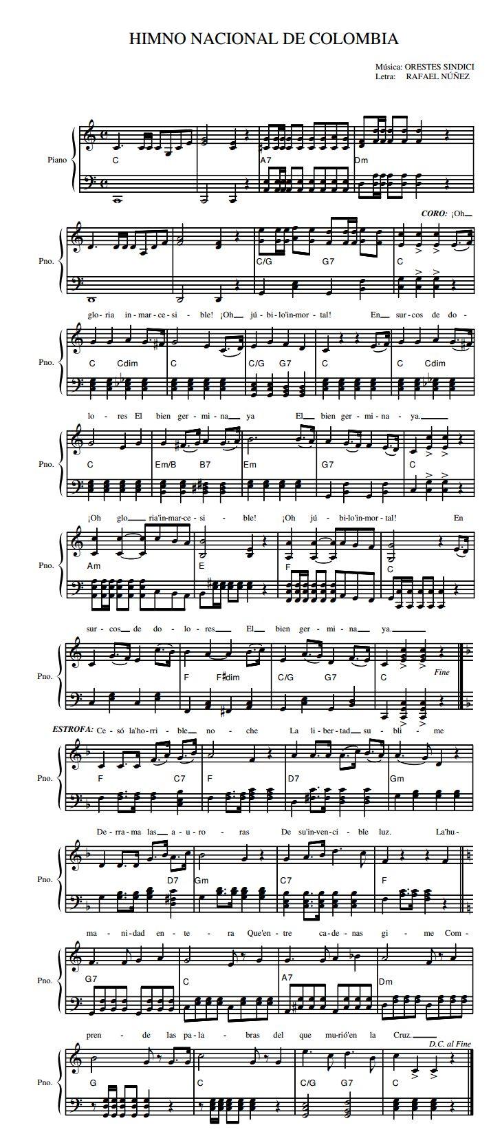 "Partitura del Himno Nacional de la República de Colombia - ""¡Oh gloria inmarcesible!"" / Sheet music of the National Anthem of Colombia - ""Oh, Unfading Glory!"""