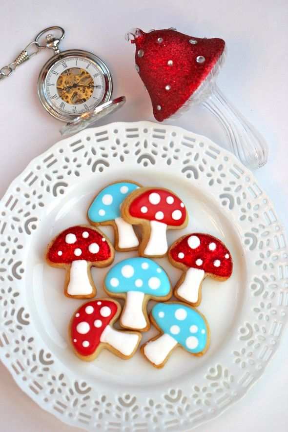 Shortbread! The Alice cookie freaks me out a bit, but I'd love to do the mushrooms!