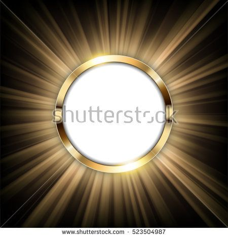 Metallic gold ring with text space and Light illuminated Vector Illustration