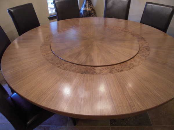 Perfect Large Round Pedestal Table With A Built In Lazy Susan.