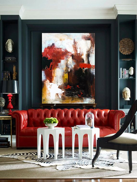 Abstract Acrylic Painting Modern Contemporary Art Large size 40x30x1,5  by ROSS MALYSH color red blue brown