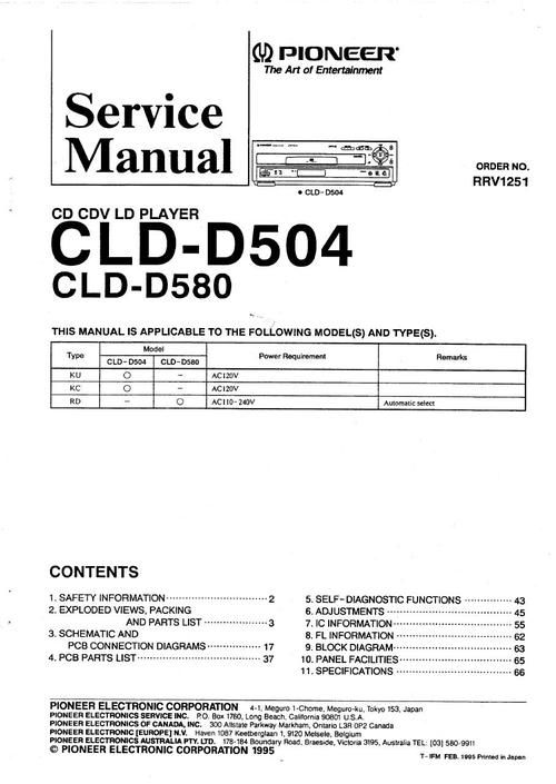 Pioneer CLD-D504 , CLD-D580 Laser Disc , Service Manual  * PDF format suitable for all Windows DOWNLOAD