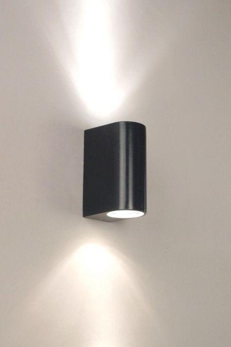 wandlamp 70076: modern, metaal, zwart, mat, rond, rechthoekig ...