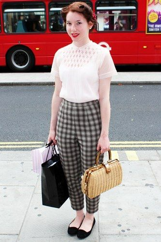 London — if you're into retro, take it to the nth degree (like with that little bag and dark red lipstick)....