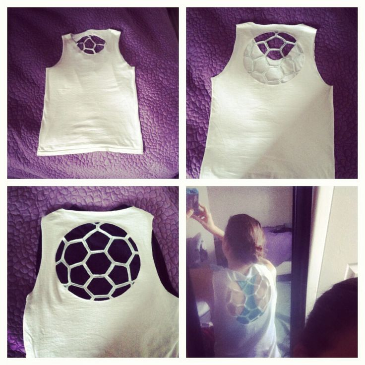 Turn a plain T-shirt into a tank with soccer back cutout. Rev up your workout!