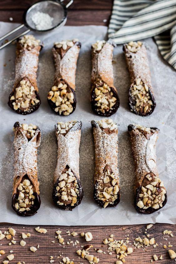 intensefoodcravings:  Chocolate Hazelnut Cannoli | Cooking at Sabrina's