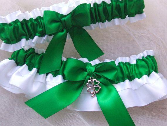 Wedding garter set white and green charm garter by PerfectGarter, $32.00