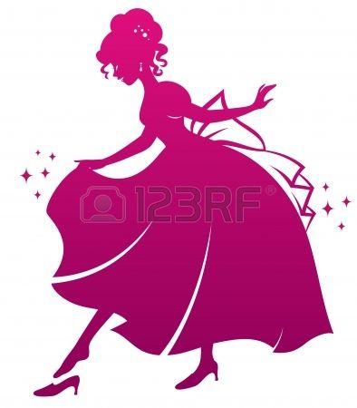 silhouet van Assepoester die haar glazen muiltje Stockfoto