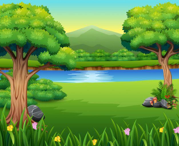 Nature Lanscape With A Beautiful Park And Mountain Fotos Desenhos Arte