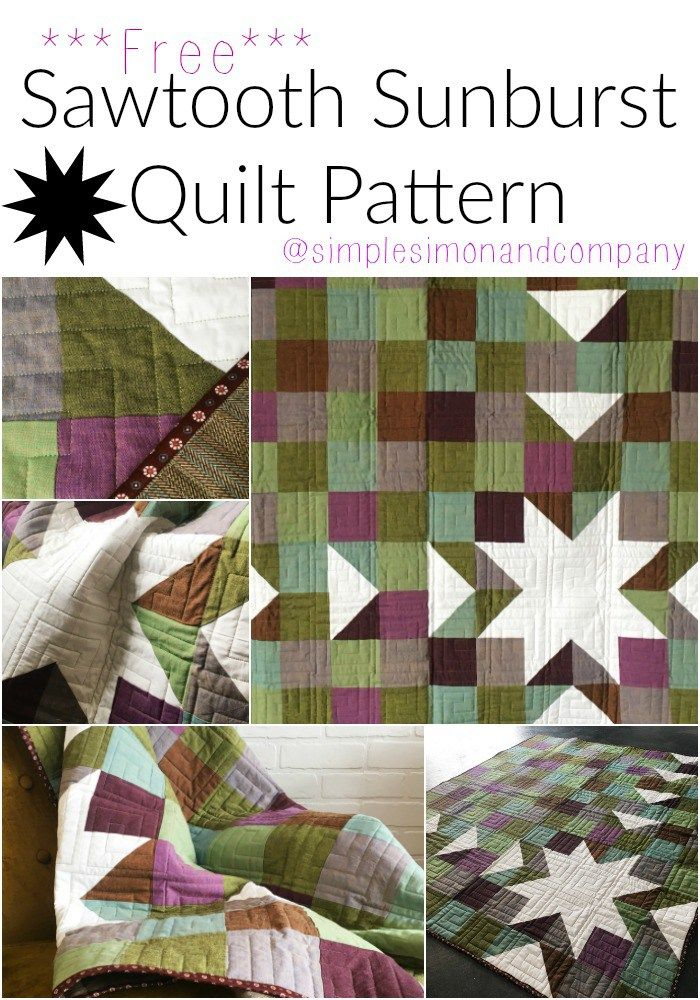 Get this free Sawtooth Sunburst Quilt Pattern. It is easy to make and is perfect for working with solid colored fabrics!