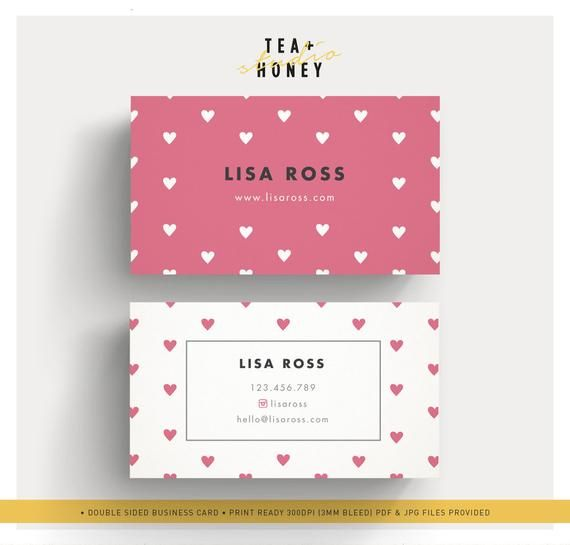 Hearts Pattern Business Card Template Nanny Business Card Etsy Business Card Pattern Business Card Template Business Card Dimensions
