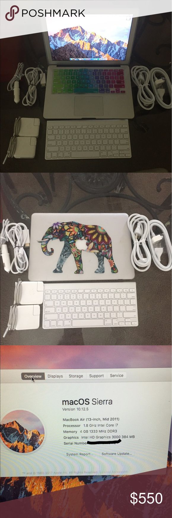 """2011 MacBook Air 13.3"""" Bundle This is a listing for a MacBook Air 13.3""""  Mid-2011                Comes with 2 chargers/2 adapter chargers/Apple wireless keyboard/Clear keyboard case w/ elephant vinyl/rainbow keyboard cover. Works great! Apple Other"""