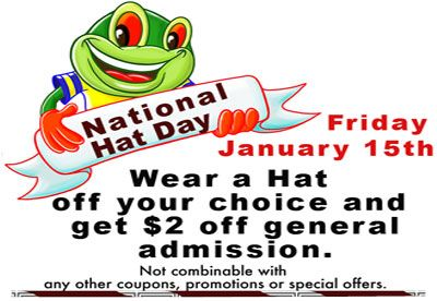 We are having a National Hat Day at The Great Escape in #Langley, #BC - wear a #Hat and get $2.00 off General Admission -