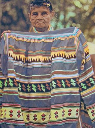Susie Billie and her traditional Seminole patchwork
