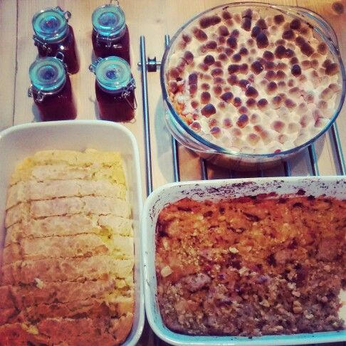 Homemade cranberry, stuffing, cornbread and sweet potato casserole!