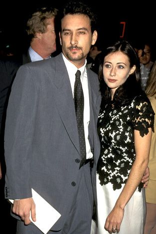 Shannen Doherty and Ashley Hamilton The Beverly Hills, 90210 star was only 22 when she married the actor in September 1993. Less than a year later, in April 1994, they filed for divorce   Read more: http://www.usmagazine.com/celebrity-news/pictures/stars-who-wed-too-young-200919/2852#ixzz2kheSgCZ8  Follow us: @Us Weekly on Twitter | usweekly on Facebook