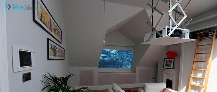 Ascensor y pantalla eléctrico instalado en techo falso | Blog TelonesColombia