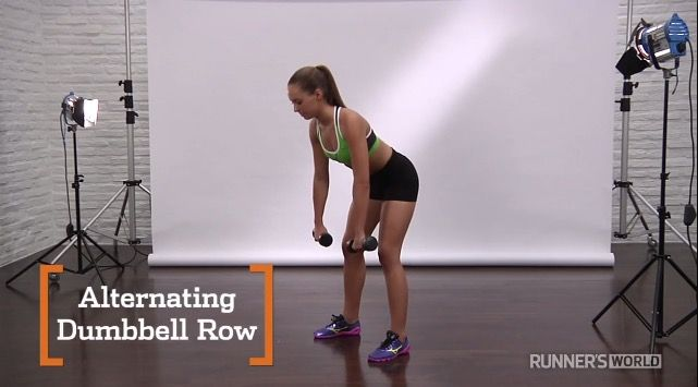Alternating Dumbell Row http://www.runnersworld.com/strength-training/10-essential-strength-exercises-for-runners/slide/10