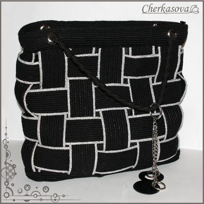"""Сумка """" Мона """" - чёрный,сумка,вязание,Вязание крючком,вязаная сумка,вязаные сумки"""