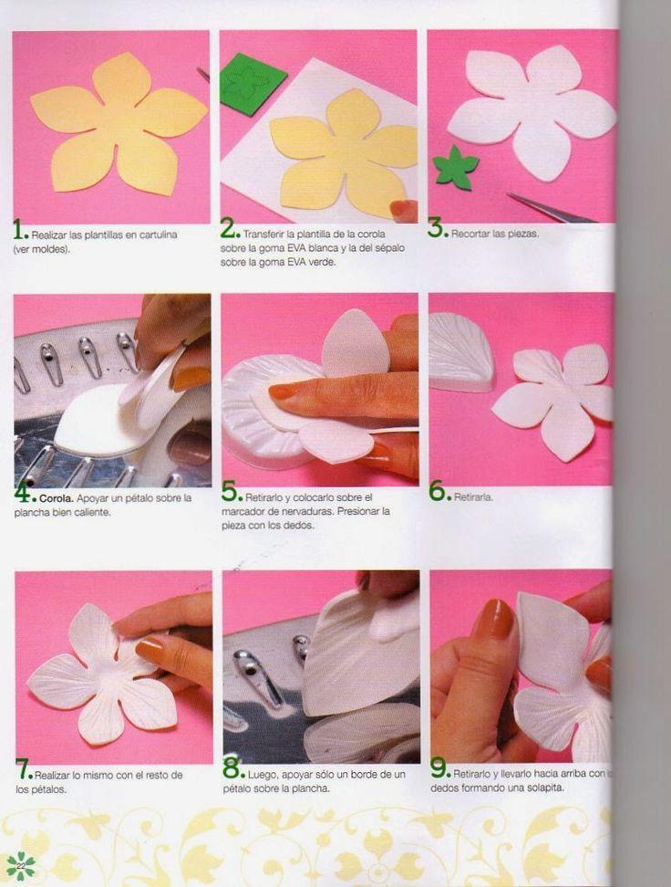 Como hacer flores navideñas en foamy