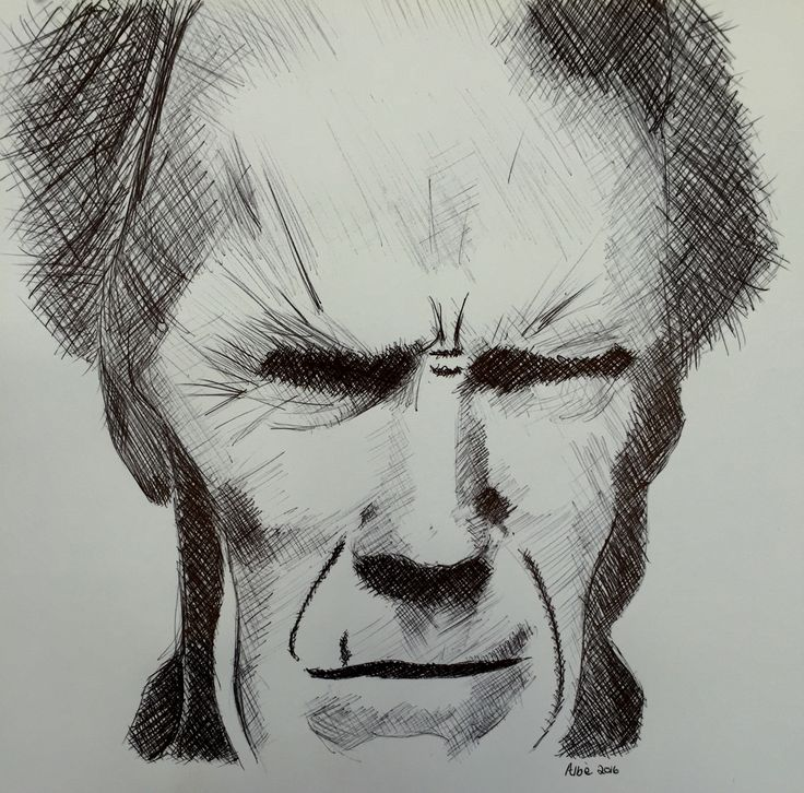 Clint Eastwood. Cross Hatching in pen. I drew him upside down to prevent my mind from manipulating what I see :-)