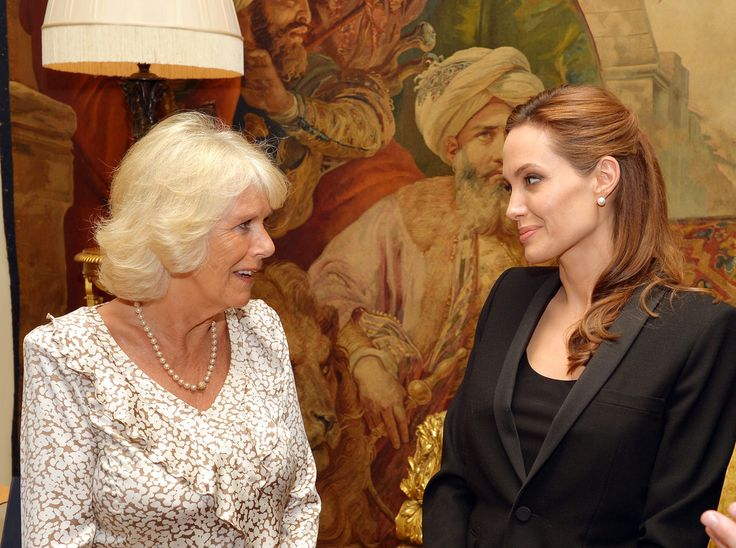 Camilla, Duchess of Cornwall meets Angelina Jolie as the actress talked about her campaign against sexual violence in warzones during a private meeting at Clarence House on June 12, 2014 i