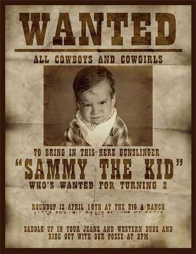 Cowboy birthday party - perhaps a future party for Ethan or baby #2?