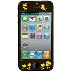 Black Snoopy® Series Protective Screen Film with Peanuts® Design for iPhone® 4/4S iLuv ICP1407CFBLK PRICE DROP! #iluv #snoopy #woodstock #black #iphone #screen #film