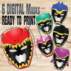 Enjoy these 6 digital download masks and print them today just in time for the party. Red, Blue, Black, Green, Pink, and Purple included. Fun for