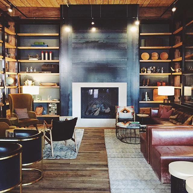 Hotel Lobby Design Ideas Navy Fireplace