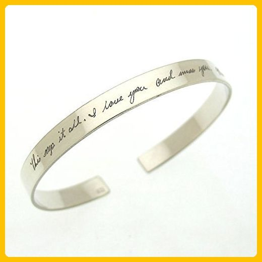 Personalized Handwriting Bracelet for her - Sterling Silver Engraved Cuff - Mothers Gift - Custom Engraved Bracelet - Signature Bracelets - Jewelry Engraving Ideas - Memorial Day Gift Ideas - Wedding bracelets (*Amazon Partner-Link)