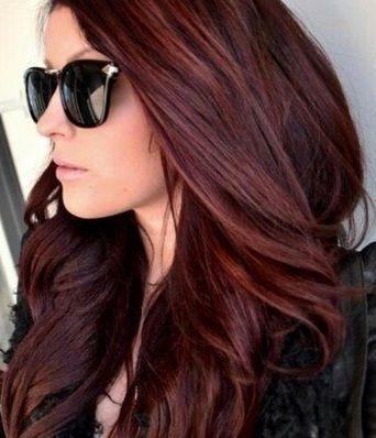 Blowout burgundy hair color
