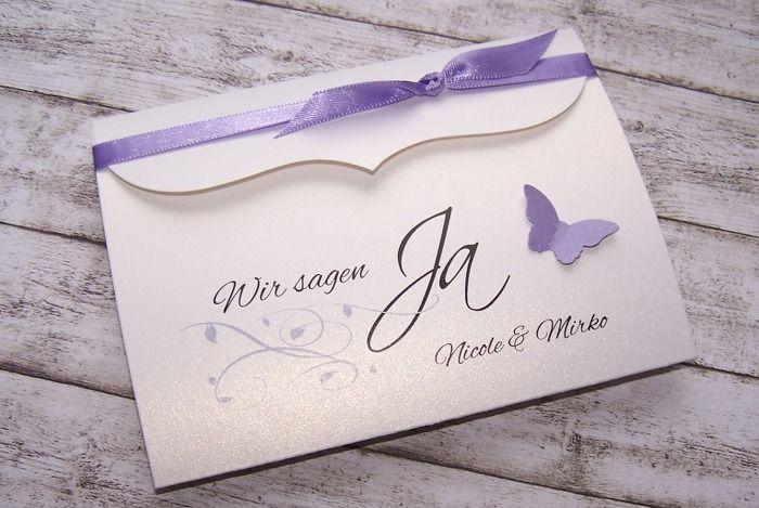 """Einladungskarte Hochzeit """"grün-weiß quad."""""""