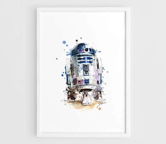 R2D2 Star Wars Movie Poster R2D2 Art Poster Star Wars by NazarArt