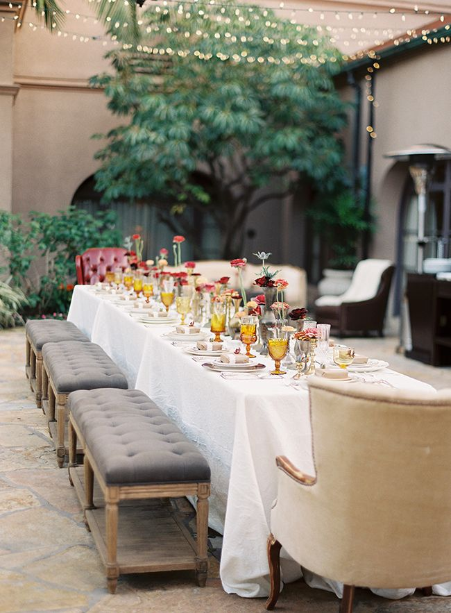 Dinner party al fresco - wedding reception table decor - outdoor patio garden wedding decor