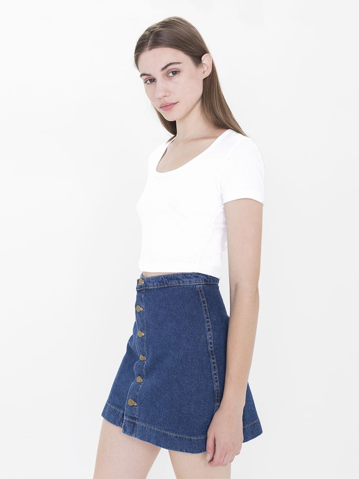 Denim Button A Line Skirt