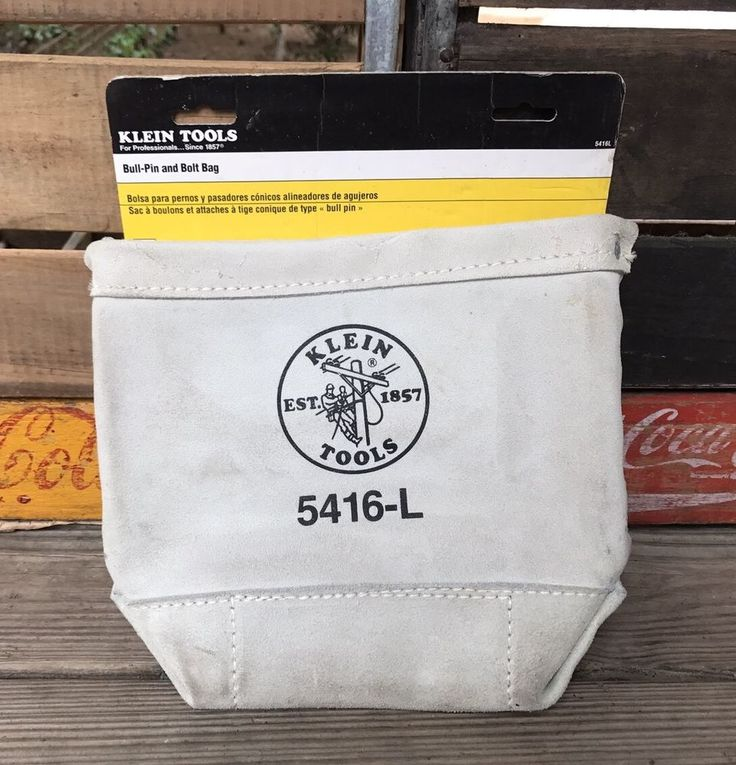 KLEIN TOOLS 5416-L White Leather Bull-Pin & Bolt Bag Tool Belt Pouch #KleinTools