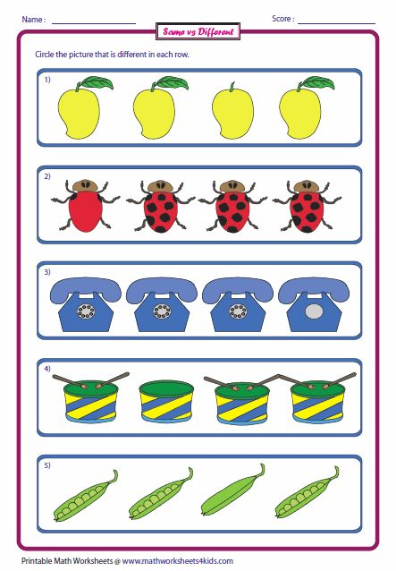 Same and Different Worksheets   Preschool worksheets ...