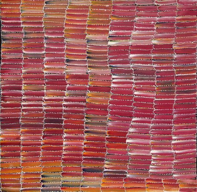 Anaty Bush Yam painting by Jeannie Mills Pwerle, 60x60 cm     #AboriginalArt