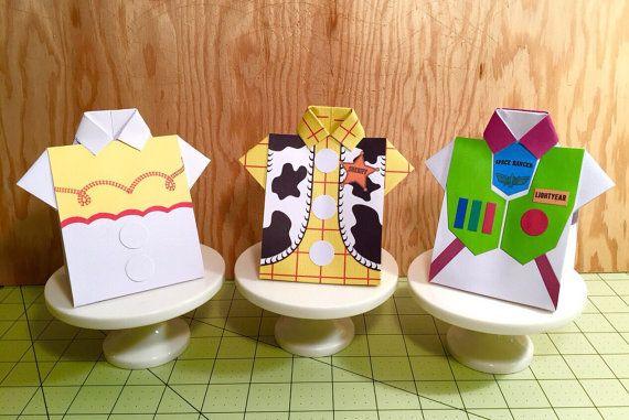 Tutorial PDF para Toy Story camisa Favor caja con imprimibles Woody, Jessie y Buzz (patrones delanteros) instantánea descargar