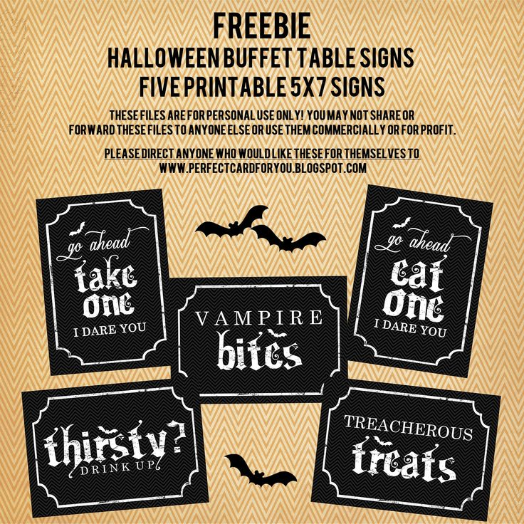 The Perfect Card: FREEBIE : Printable Halloween Buffet Table Signs