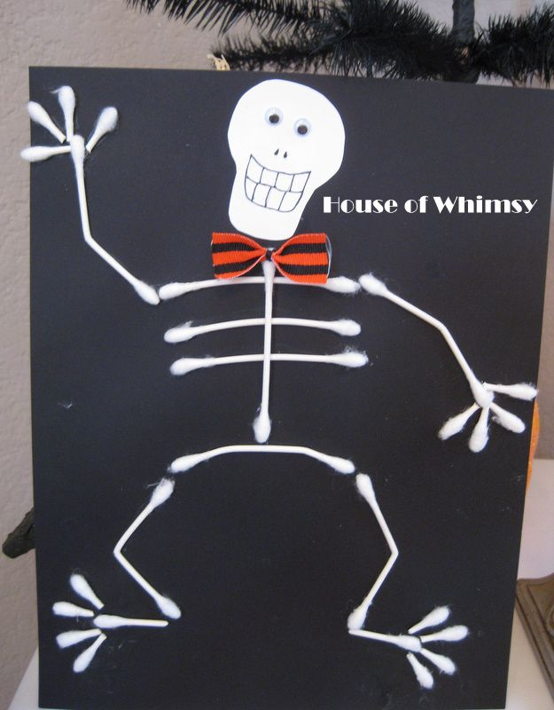 q tip skeleton craft template cute qtip skeleton merry holidays pinterest