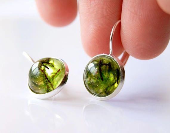 Real moss earrings Natural Green Moss earrings Resin earrings