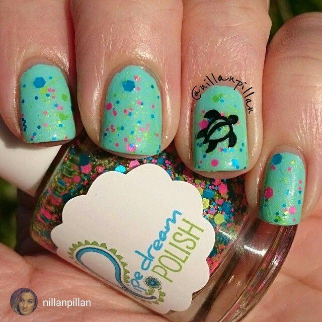 "repost via @instarepost20 from @nillanpillan TGIF! A little surfer turtle for my Friday mani paired with my first polish from Pipe Dream Polish - ""Zappin' it to ya"" layered over Isadora ""Ocean Dive""  Have a nice Friday night  #notd #nailsoftheday #snailvinyls #neon #turtlemani #indieswatch #pipedreampolish #edgypolish #easynailart #isadora #nailpolish #nagellack #vernis #smalto #nails #nails2inspire #nailpolishaddicted#instarepost20"
