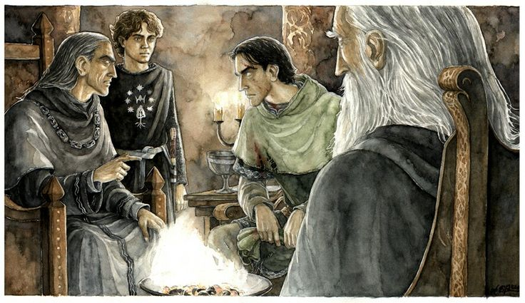 Father and Son, by Anke-Katrin Eiszmann. Here, the three around the fire, Denethor, Pippin and Faramir, are all similar to how I imagined them.