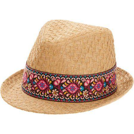 7d0bfd8146b82 Faded Glory Women s Straw Fedora Hat