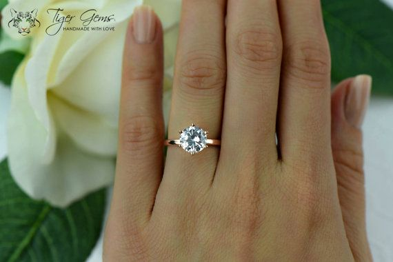2 Carat 6 Prong Engagement Ring, Rose Solitaire Ring, Man Made Diamond Simulant, Wedding Ring, Bridal Ring, Promise Ring, Sterling Silver