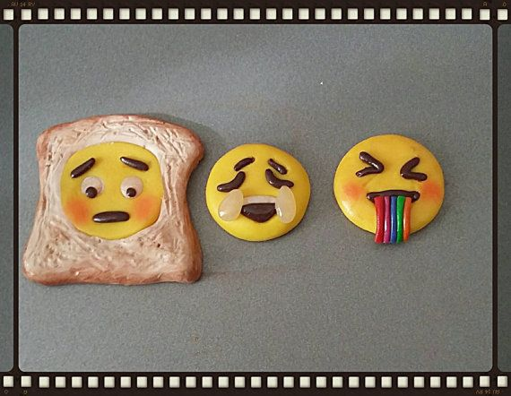 Check out this item in my Etsy shop https://www.etsy.com/uk/listing/463800738/emoji-set-of-3-fridge-magnets-polymer