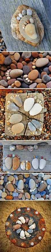 These are so darned cute! They would be great to add to a flower garden, along the patio, or even glue to the top of your deck railing in the corners for a little added artsy touch. Doesn't have to be just feet....you could glue rocks in all different shapes and designs to the back of your wood fence to show a mural above your flowers!