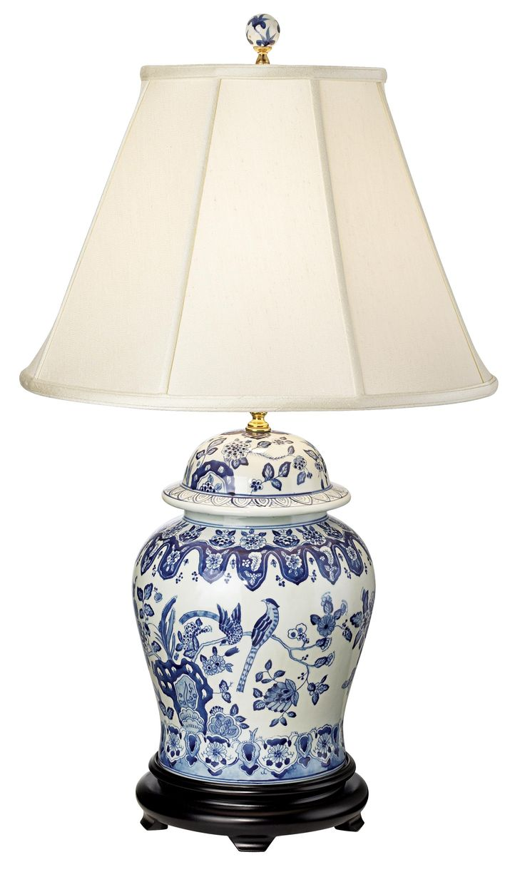 English Floral Hand-Painted Porcelain Ginger Jar Table Lamp - Style # K3344